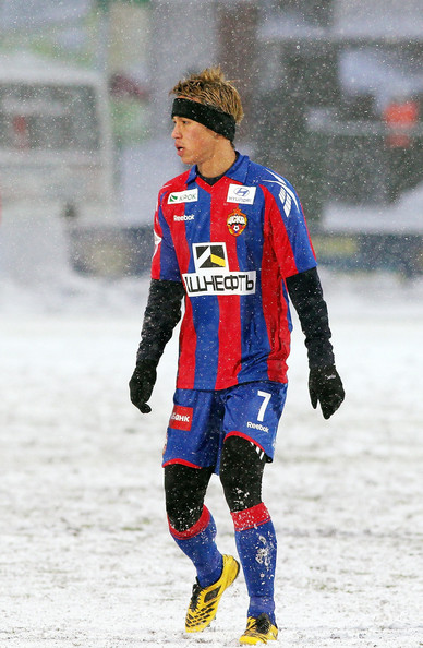 Keisuke Honda (EMBARGOED FOR PUBLICATION IN ALL JAPANESE MEDIA UNTIL 48 HOURS AFTER CREATE DATE AND TIME) Keisuke Honda of CSKA Moscow in action during the Russian Football League Championship match between FC Amkar and PFC CSKA at the Saturn Stadium on on November 28, 2010 in Perm, Russia.