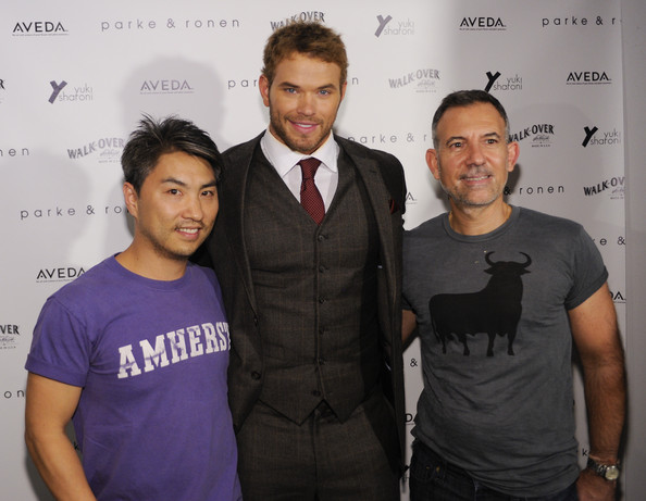 Kellan Lutz (L-R) Designer Parke Lutter, actor Kellan Lutz and designer Ronen Jehezkel backstage for Parke and Rohen at Exit Art on September 9, 2011 in New York City.
