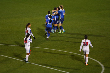 Kelley O'Hara Christen Press United States v Puerto Rico: Group A - 2016 CONCACAF Women's Olympic Qualifying