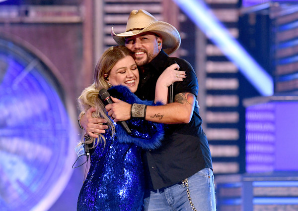 54th Academy Of Country Music Awards - Show [entertainment,performance,performing arts,event,fun,dance,musical,stage,music artist,performance art,jason aldean,kelly clarkson,l-r,nevada,las vegas,mgm grand hotel casino,academy of country music awards,show]