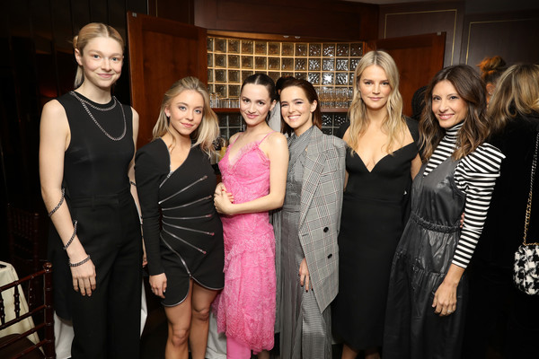 InStyle Badass Women Dinner Hosted By Laura Brown & Sponsored By Secret [event,fashion,little black dress,dress,party,fashion design,formal wear,style,laura brown,zoey deutch,kelly sawyer,hunter schafer,maude apatow,sydney sweeney,norah weinstein,secret,l-r,instyle badass women dinner,zoey deutch,maude apatow,laura brown,sydney sweeney,caitriona balfe,sunset tower hotel,instyle,hollywood,celebrity,actor]
