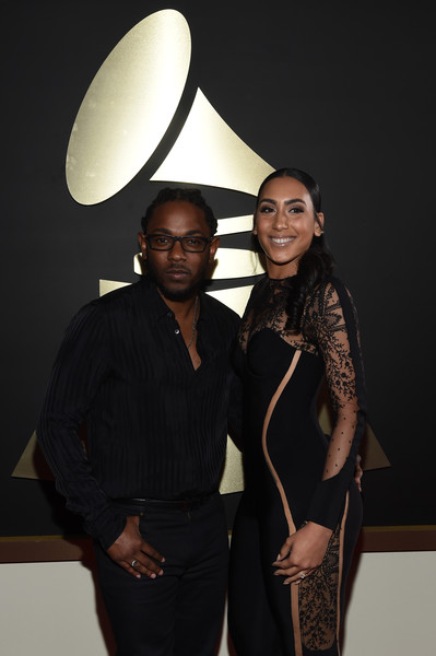 The 58th GRAMMY Awards - Red Carpet [red carpet,lighting,fashion,formal wear,event,fashion design,light fixture,suit,lamp,interior design,style,kendrick lamar,whitney alford,grammy awards,california,los angeles,staples center,l,the 58th grammy awards]