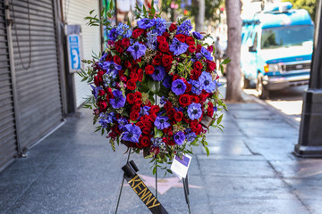 Kenny Rogers Flowers Placed On The Hollywood Walk Of Fame Star Of Kenny Rogers