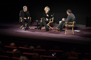 (L-R) Costa Gavras, Jane Fonda and Frederic Bonnaud attend Kering Women In Motion Master Class With Jane Fonda at la cinematheque on October 22, 2018 in Paris, France.