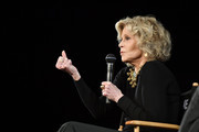 Jane Fonda speak on stage during Kering Women In Motion Master Class With Jane Fonda at la cinematheque on October 22, 2018 in Paris, France.