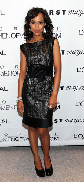 5th Annual L'Oreal Women of Worth Awards [loreal women of worth awards,kerry washington,dress,clothing,cocktail dress,little black dress,fashion model,shoulder,hairstyle,fashion,footwear,joint,new york city,hearst tower]