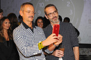 Viktor Horsting (L) and Rolf Snoeren attend the launch of an Interactive Installation with Ketel One Family-Made Vodka Fetes Fashion Artists Viktor&Rolf, alongside Visionaire at Cadillac House on September 8, 2018 in New York City.