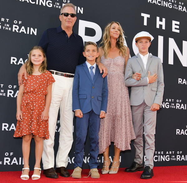 Premiere Of 20th Century Fox's 'The Art Of Racing In The Rain' - Red Carpet [the art of racing in the rain,premiere,event,fashion,red carpet,carpet,flooring,footwear,eyewear,fashion design,dress,hayes logan costner,grace avery costner,kevin costner,cayden wyatt costner,christine baumgartner,20th century fox,red carpet,premiere,premiere]