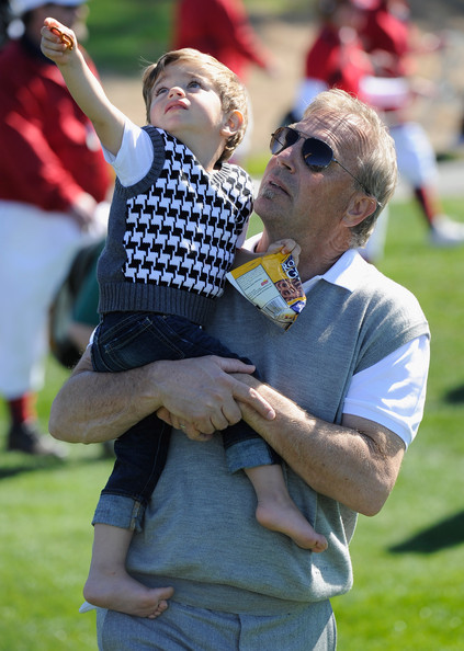 Kevin Costner Actor Kevin Costner with a family member during the 3M Celebrity Challenge at the AT&T Pebble Beach National Pro-Am at Pebble Beach Golf Links on February 9, 2011  in Pebble Beach, California.