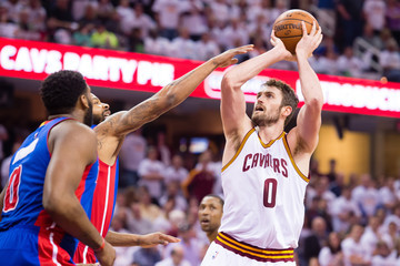 Kevin Love Marcus Morris Detroit Pistons v Cleveland Cavaliers - Game Two