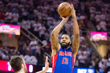 Kevin Love Marcus Morris Detroit Pistons v Cleveland Cavaliers - Game One