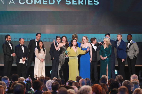 26th Annual Screen ActorsGuild Awards - Show [comedy series,event,community,performance,crowd,ceremony,stage,competition,audience,award,team,ensemble,kevin pollak,stephanie hsu,alex borstein,tony shalhoub,jane lynch,screen actors guild awards,l-r,show,marin hinkle,kevin pollak,image,photography,photograph,rachel brosnahan,tony shalhoub,caroline aaron,alex borstein]