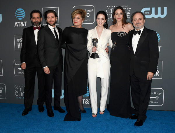 The 24th Annual Critics' Choice Awards - Press Room [the marvelous mrs. maisel,suit,carpet,premiere,event,formal wear,red carpet,tuxedo,flooring,white-collar worker,award,winners,michael zegen,caroline aaron,tony shalhoub,rachel brosnahan,l-r,award,room,critics choice awards]