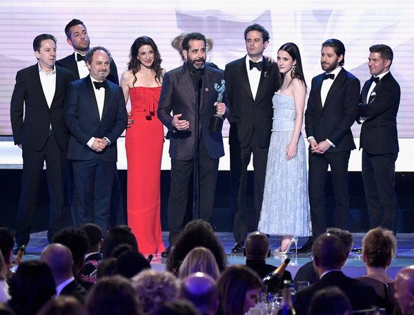 25th Annual Screen Actors Guild Awards - Show [event,formal wear,suit,performance,award,ceremony,white-collar worker,businessperson,management,tuxedo,screen actors guild awards,l-r,awrad,show,kevin pollak,brian tarantina,zachary levi,michael zegen,joel johnstone,rachel brosnahan]