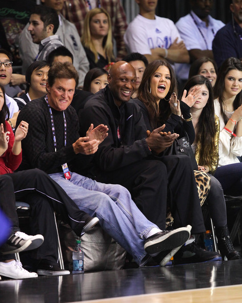 Khloe Kardashian (L-R) Bruce Jenner, Lamar Odom and Khloe Kardashian play at the 2011 BBVA NBA All-Star Celebrity Game at the Los Angeles Convention Center on February 18, 2011 in Los Angeles, California.