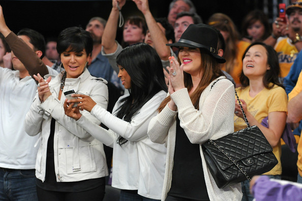 Khloe Kardashian Khloe Kardashian (R) and Kris Jenner attend the game between the New Orleans Hornets and the Los Angeles Lakers at Staples Center on April 20, 2011 in Los Angeles, California.