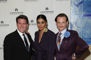 (L-R) Michael Bruno, designer Rachel Roy and editor Hamish Bowles attend the kick-off dinner for Lighthouse International's POSH Fashion sale at the Oak Room on May 11, 2010 in New York City.