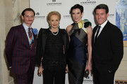 (L-R) Editor Hamish Bowles, designer Carolina Herrera, Amy Fine Collins and Michael Bruno attend the kick-off dinner for Lighthouse International's POSH Fashion sale at the Oak Room on May 11, 2010 in New York City.