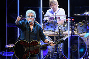 Singer Roger Daltrey (L) and touring drummer Zak Starkey of The Who perform on the first night of the band's residency at The Colosseum at Caesars Palace on July 29, 2017 in Las Vegas, Nevada.
