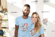 Jay Ellis and Nina Senicar attend the Kiehl's national LifeRide for amfAR celebration at the NYC flagship store on August 3, 2016 in New York City.