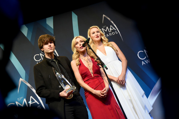 The 51st Annual CMA Awards - Press Room [red,performance,yellow,event,stage,fun,performing arts,photography,singing,music,shannon campbell,kim campbell,ashley campbell,cma awards,room,media room,tennessee,nashville,bridgestone arena]