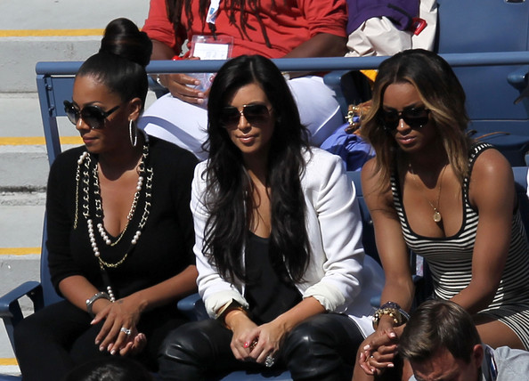 Kim Kardashian (L-R) LaLa Vazquez, Kim Kardashian and Singer Ciara attend Day Eleven of the 2011 US Open at the USTA Billie Jean King National Tennis Center on September 8, 2011 in the Flushing neighborhood of the Queens borough of New York City.