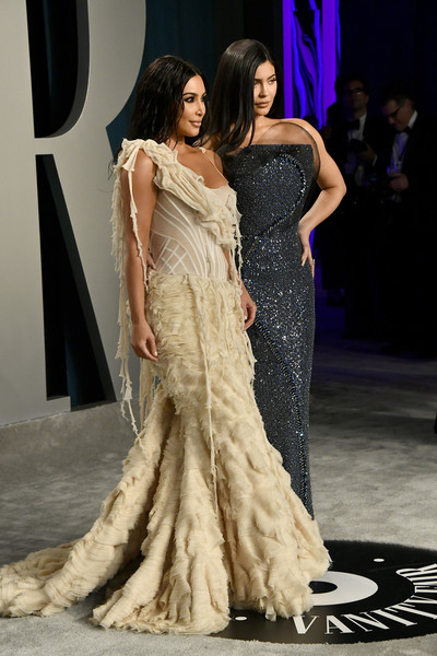 2020 Vanity Fair Oscar Party Hosted By Radhika Jones - Arrivals [fashion model,clothing,gown,fashion,dress,haute couture,shoulder,fashion show,formal wear,event,radhika jones - arrivals,radhika jones,kylie jenner,kim kardashian,l-r,california,beverly hills,wallis annenberg center for the performing arts,oscar party,vanity fair,kim kardashian,kylie jenner,radhika jones,oscar party,vanity fair,celebrity,academy awards,party,socialite,fashion]