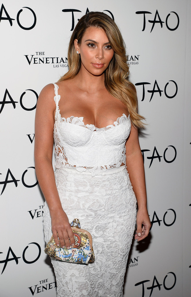 Television personality Kim Kardashian arrives at the Tao Nightclub at The Venetian Las Vegas to celebrate her 33rd birthday on October 26, 2013 in Las Vegas, Nevada.