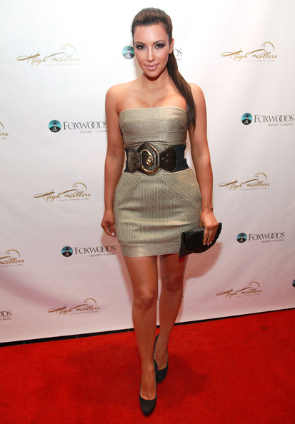 Kim Kardashian Kim Kardashian hosts the grand opening of High Rollers Luxury Lanes and Lounge at Foxwoods Resort Casino on October 9, 2010 in Mashantucket, Connecticut.