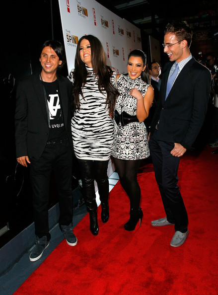 """Kim Kardashian (L to R) Jonathan Cheban; Khloe Kardashian, Kim Kardashian and Simon Huck attend """"The Spin Crowd"""" Season Finale Party at Provacateur on October 6, 2010 in New York City."""