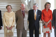 (L-R) Queen Paola, King Albert II, Prince Philippe and Princess Mathilde of belgium meet former Prime Ministers of Belgium at Laeken Castle on July 10, 2013 in Brussels, Belgium.