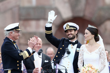 King Carl Gustaf XVI  Departures & Cortege: Wedding of Prince Carl Philip and Princess Sofia of Sweden