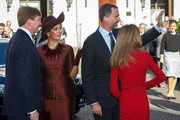 King Felipe VI of Spain and Queen Letizia of Spain are welcomed by King Willem-Alexander of the Netherlands and Queen Maxima of the Netherlands upon their arrival to Noordeinde palace on October 15, 2014 in The Hague, Netherlands. Spain's royal couple are in the Netherlands for a one-day official visit and will meet with Dutch Prime Minister Mark Rutte later today.