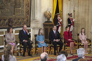 (L-R) Queen Sofia, King Juan Carlos, Princess Leonor of Spain, King Felipe VI of Spain, Queen Letizia of Spain and Princess Sofia of Spain  attend the Order of Golden Fleece (Toison de Oro), ceremony at the Royal Palace on January 30, 2018 in Madrid, Spain. Today is King's Felipe 50th birthday.