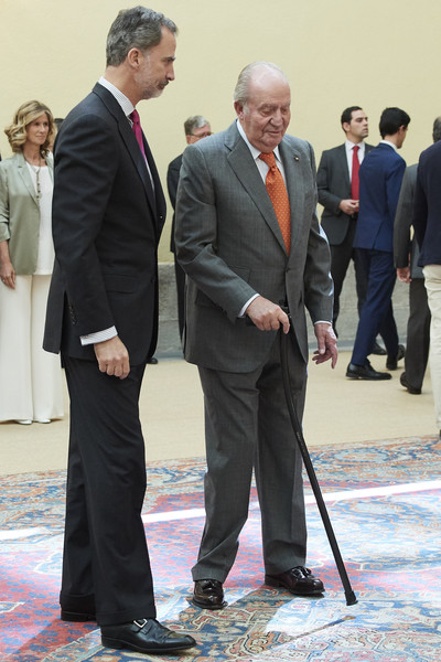 Spanish Royals Meet COTEC Foundation [suit,formal wear,event,businessperson,white-collar worker,tuxedo,footwear,gesture,business,felipe vi,juan carlos,r,spanish,spain,madrid,royal palace,royals meet cotec foundation,l,meeting]