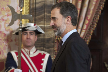 King Felipe VI of Spain Spanish Royals Meet 'Princesa De Girona' Foundation Members