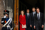 Dutch Prime Minister Mark Rutte (R) leaves the Ministry of General Affairs with King Felipe VI of Spain (2nd R) and Queen Letizia of Spain on October 15, 2014 in The Hague, Netherlands. Spain's royal couple are in the Netherlands for a one-day official visit.