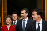 Dutch Prime Minister Mark Rutte (R) leaves the Ministry of General Affairs with King Felipe VI of Spain (C) and Queen Letizia of Spain on October 15, 2014 in The Hague, Netherlands. Spain's royal couple are in the Netherlands for a one-day official visit.