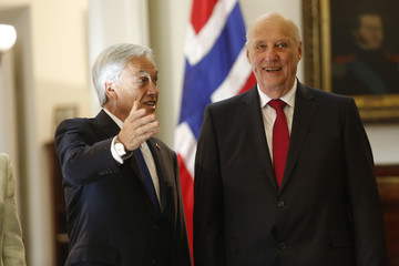King Harald V Norwegian King Harald V And Queen Sonja Visit Chile - Day 2