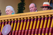 King Juan Carlos of Spain (C) is seen attending bullfights at his last institutional public appearance in Aranjuez bullring with Pilar de Borbon (L) and Princess Elena of Spain (R) on June 02, 2019 in Aranjuez, Spain.