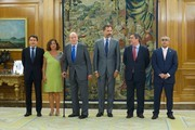 King Juan Carlos of Spain (3L) and Prince Felipe of Spain (3R) receive Regional President Ignacio Gonzalez (L), Mayor of Madrid Ana Botella (2L), Secretary of State for Sport Miguel Cardenal (2R) and President of the Spanish Olympic Committee Alejandro Blanco (R) at the Zarzuela Palace on September 10, 2013 in Madrid, Spain.
