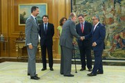 King Juan Carlos of Spain (3R) and Prince Felipe of Spain (L) receive Regional President Ignacio Gonzalez (2L), Mayor of Madrid Ana Botella (3L), Secretary of State for Sport Miguel Cardenal (2R) and President of the Spanish Olympic Committee Alejandro Blanco (R) at the Zarzuela Palace on September 10, 2013 in Madrid, Spain.