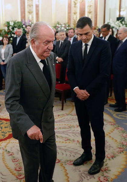 Personalities Visit Alfredo Perez Rubalcaba Funeral Chapel At Spanish Parliament [suit,event,formal wear,tuxedo,businessperson,white-collar worker,official,personalities,juan carlos,pedro sanchez,vice president,alfredo perez rubalcaba funeral chapel,chapel,spain,spanish parliament,congress of deputies,government]