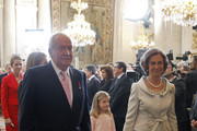 (L-R) King Juan Carlos of Spain, Queen Sofia of Spain and Princess Sofia of Spain attend the official abdication ceremony at the Royal Palace on June 18, 2014 in Madrid, Spain. King Juan Carlos of Spain's abdication takes effect at midnight local time.