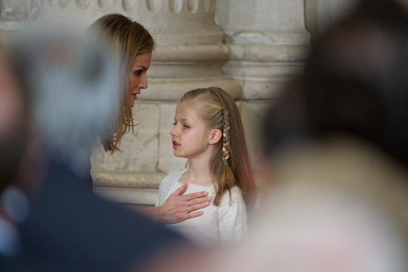 Princess Letizia of Spain (L) and Princess Leonor of Spain (R) attends the official abdication ceremony at the Royal Palace on June 18, 2014 in Madrid, Spain.