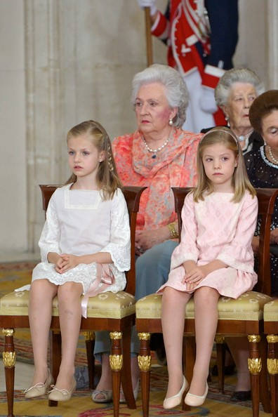 Princess Leonor of Spain (L) and Princess Sofia of Spain (R) attend the official abdication ceremony at the Royal Palace on June 18, 2014 in Madrid, Spain.