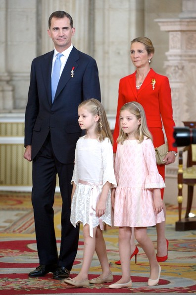 (L-R) Prince Felipe of Spain, Princess Leonor of Spain, Princess Sofia of Spain and Princess Elena of Spain attend the official abdication ceremony at the Royal Palace on June 18, 2014 in Madrid, Spain.
