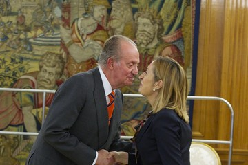 Ana Pastor Julian King Juan Carlos of Spain Attends An Audience at Zarzuela Palace