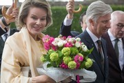 King Philippe of Belgium and Queen Mathilde of Belgium visit Fedasil, a centre for young assylum seekers on April 25, 2017 in Dendermonde, Belgium.