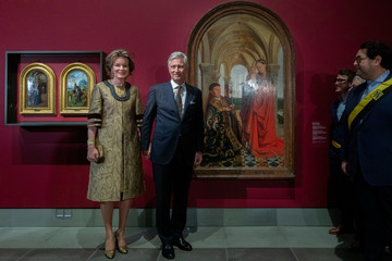 """King Philippe of Belgium King Philippe Of Belgium And Queen Mathilde visit the """"Van Eyck An Optical Revolution"""" Exhibition At The Museum Of Fine Art"""